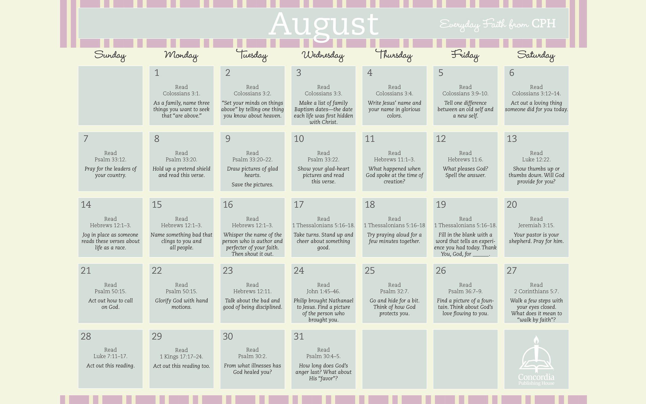 August Everyday Faith Calendar