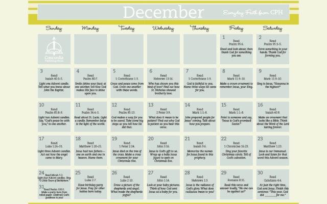 photograph regarding Printable Devotions named December Day by day Religion Calendar