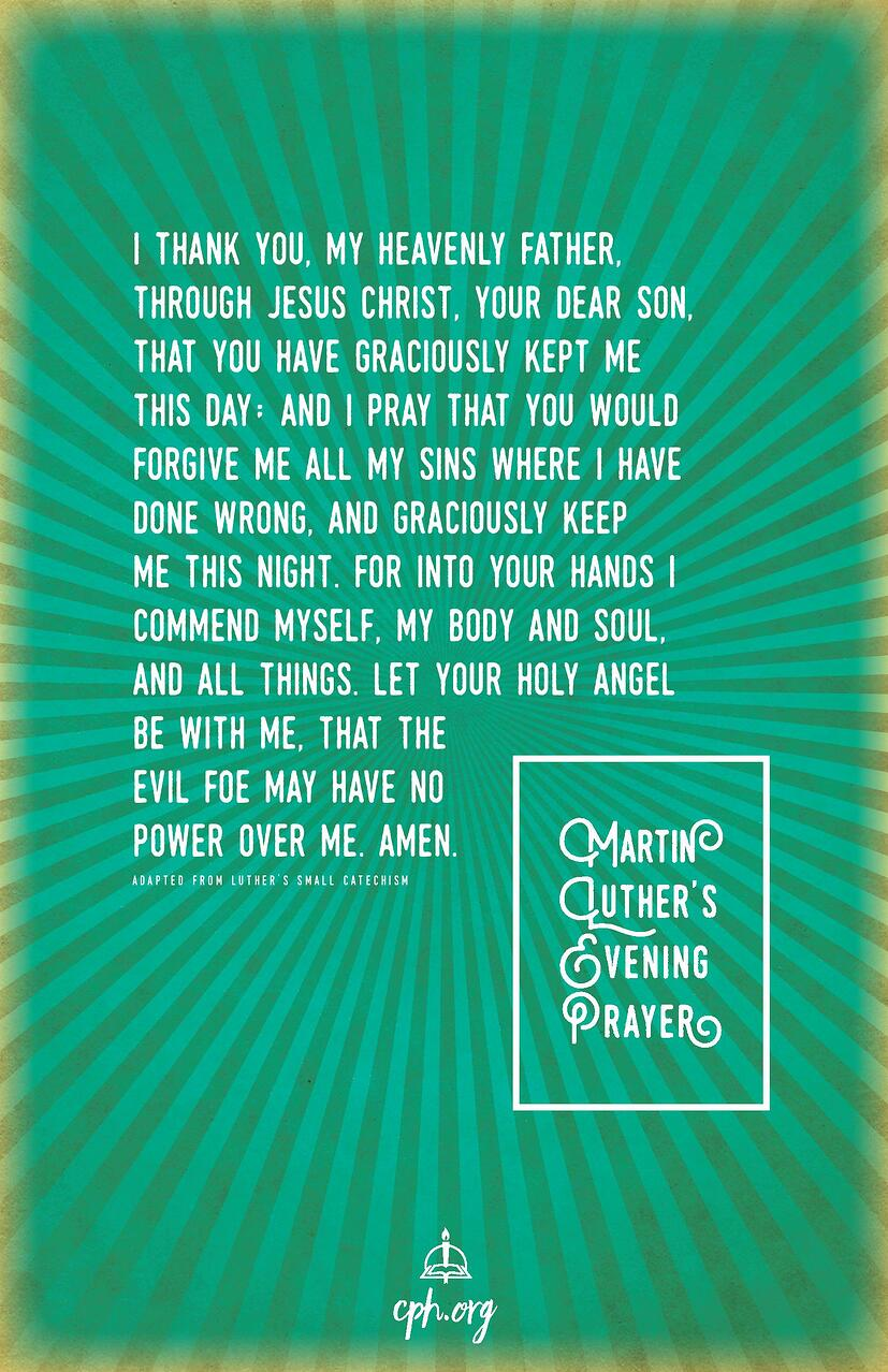 Luther's Evening Prayer Poster