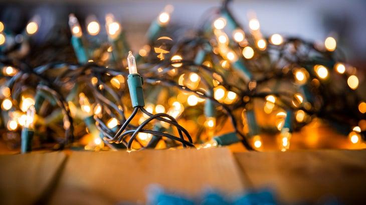 A tangled box of Christmas lights