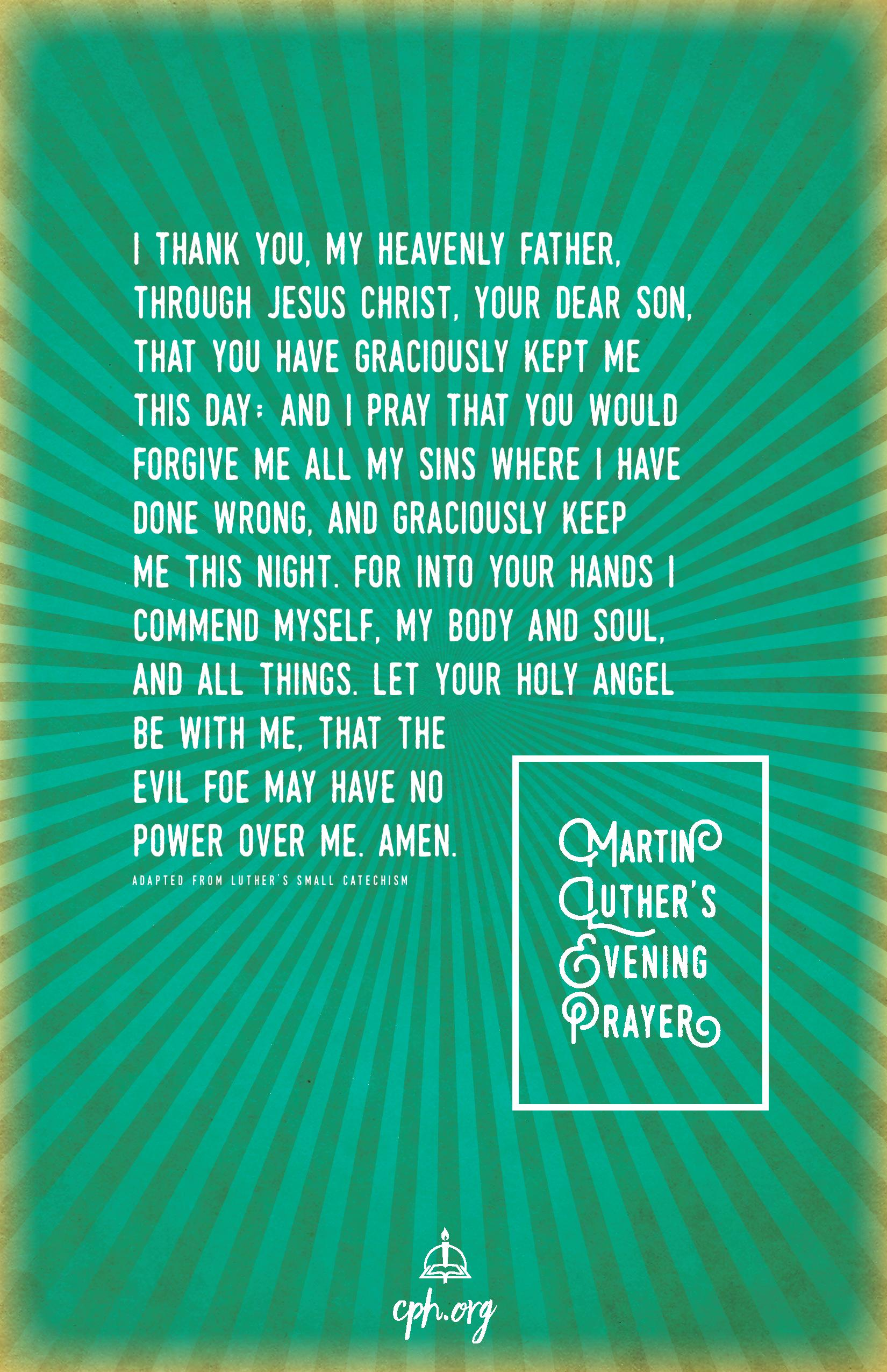 Luthers Evening Prayer Poster